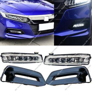 Black Front Bumper Bezels Fog Driving LED Lights OEM For Honda Accord 2018 2020
