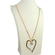 gold Lagenlook Stil groß Abstrakte Herz Kristall Stein Kette lange Halskette