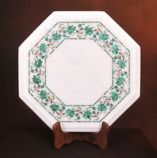 "12"" Marble End Table Malachite Inlay Living Room Furniture Home Decor"