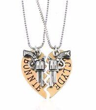 """BONNIE And CLYDE Goldtone Split Heart Pendant NECKLACE Set W/ 20"""" Chains"""