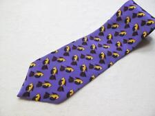 "Jerry Garcia Men's Tie   BOGO 50% OFF   Purple with Fish 100% Silk  58"" x 3.75"""
