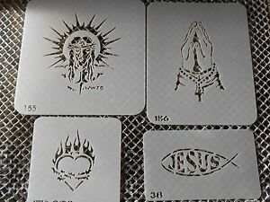 Airbrush Temporary Tattoo Stencil Set 7 Religious New by Island Tribal!