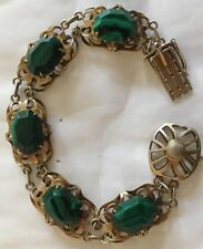 Antique Silver Malachite Gold Gilt Bracelet
