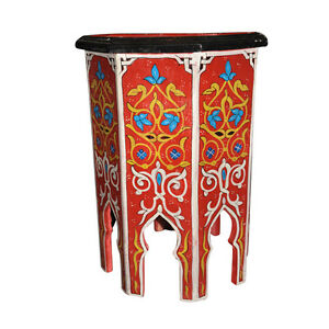 Moroccan Octagonal Hand Painted Accent Table Moorish Design Furniture End Table