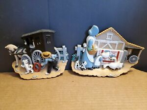 Vintage Set Amish Farm Burwood Wall Plaques Country Horse Buggy Dog Woman Geese