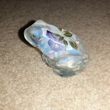 Fenton Opalescent Frog Floral Hand Painted by Pam Fleak