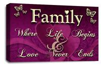 Family Quote Art Picture Purple Cream Love Home Canvas Wall Print