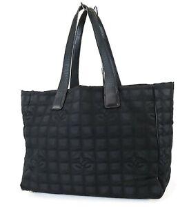 Authentic CHANEL New Travel Line Black Nylon Tote Hand Bag Purse #39758A