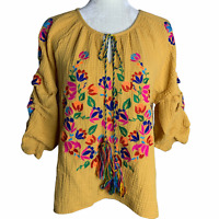 Embroidered Gauze Peasant Top M Yellow Floral Key Hole Neck Tassel Puff Sleeves