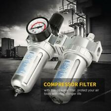12 Air Compressor Filter Oil Water Separator Trap Tools With Regulator Gauge New