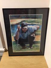 "Tiger Woods Framed Art Print Artist Signed Heriyah May 2004 16"" X 20"""