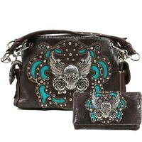 Justin West Original Sugar Skull Wings Roses Conceal Carry Handbag Purse