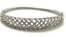 "Sterling Silver Diamond Accent Elegant Crossover Criss Cross Bangle Bracelet 7"""