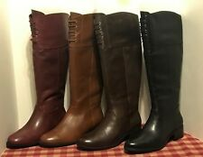 Isaac Mizrahi Leslie All Leather w/ Lace Detail Riding Knee High Boots NEW