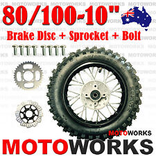 "80/100 - 10"" Inch Rear Back Wheel + Sprocket + Disc Bolt Dirt Pit PRO Trail Bike"