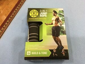 New Gold's Gym 3 in 1 Jump Rope Adjustable Weight Length Speed 9'