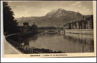 Grenoble France CPA ~1930/40 AK l'isère et le Moucherotte Fluss Berg Brücke