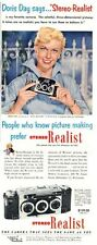 1953 Realist PRINT AD Stereo 3D Camera Doris Day