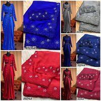 Saree Sari Silk Embroidery Work Designer Wedding Bridal Wear Ethnic Indian MA