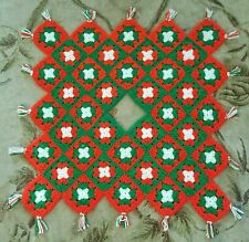 Granny Squares Afghan Christmas Table Runner Decoration Red Green White Holiday