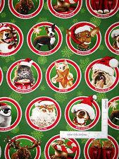 Christmas Dog Cat Moose Cotton Fabric Circle Toss Green Robert Kaufman ~ Yard