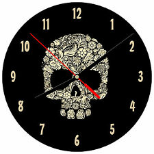 "8"" WALL CLOCK Sugar Skull 1 Tattoo Dia de los Muertos Halloween Mexican Holiday"