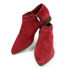 Vince Camuto Red Suede Side Zip Ankle Boots Booties Maroon - 9