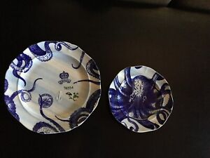 Octopus Plates. Blue. 2 Plate Set. Anthropologie. Art. Decorative. Kitchen.