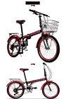 Brand New Cyber 20 inch 7 Gears Shimano black&Red Folding bike+Rack+Basket