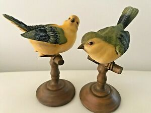 S/2 Birds Ornament Statue Figurine Vibrant Colours Garden Sculpture 12-13 CM