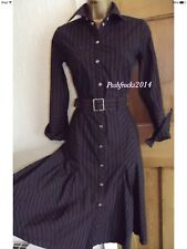 Karen Millen ❤️ office Brown Blue Striped Shirt Midi Dress Size 10 12