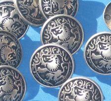 "Lot 16 fun LION RAMPANT picture vtg antiqued Silver metal set new buttons 5/8"""