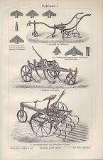 Litografía 1906: cultivadora. máquina universal-arado agricultura vapor-Grub