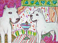 DOGO ARGENTINO Drinking a Martini Dog Pop Art Print 8x10 Signed by Artist KSams