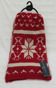MEN'S MARKS AND SPENCER BLUE HARBOUR RED AND WHITE SNOWFLAKE KNITTED SCARF