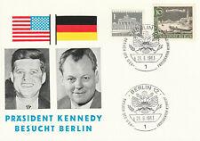 So Postkarte 1963 Berlin J F Kennedy Bürgermeister Willy Brandt Sonder - Stempel