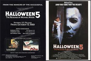 HALLOWEEN 5: Revenge of Michael Myers__Original 1989 Trade screening AD / poster