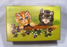 Hand Made Painted Signed Wood Cat Kitten Jewelry Trinket Box w/ Removeable Tray