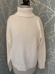 M&S Winter White Cotton Mix Roll Neck Jumper Size 20