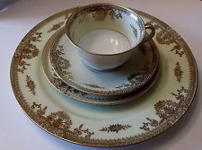 NORITAKE GOLDLEA 7283  4 PIECE PLACE SETTING   DISCONTINUED  CIRCA 1930