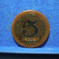 GETTONE FICHES TOKEN CASINO' DI SANREMO - VINTAGE - 5 LIRE PRIMI '900 - N° 1769