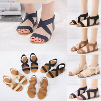 Women Ladies Fashion Flat Heel Light Weight Sandals Elastic Casual Summer Shoes