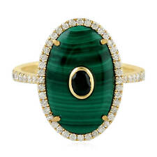 Black Spinel 0.43ct Pave Diamond Yellow Gold Malachite Gemstone Cocktail Ring
