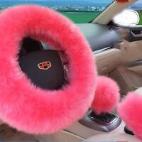 3Pcs/Set Pink Soft Plush Wool Steering Wheel Cover Furry Fluffy Car Accessory UK