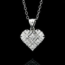 """1TCW BAGUETTE ROUND CREATED DIAMOND HEART PENDANT 14K WHITE GOLD 18"""" CABLE CHAIN"""