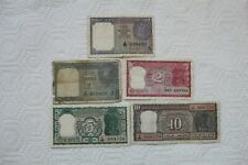 India Banknotes, 5 total, 1 Rupee 1940, 1, 2 Rupees, 5 Rupees, 10 Rupees