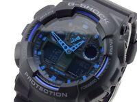 CASIO G-SHOCK BLUE DIAL GA-100-1A2ER Mens Combi Watch *NEW* gshock GA1001A2ER
