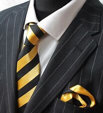 Tie Neck tie with Handkerchief Yellow with Black Stripe