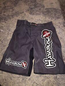 HAYABUSA Mens SIZE 30 Black MMA Kickboxing Jiu Jitsu Fight Shorts