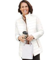 Winter White Lightweight but Warm Quilted Jacket with Bronze Stitching Detail